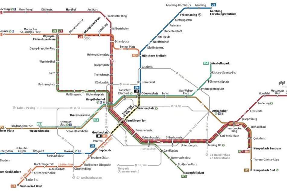 Sonderfahrplan in München: Zwischen Goetheplatz und Odeonsplatz fährt nur noch ein Pendelzug.