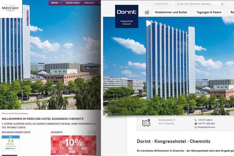 Zwei fast gleiche Webseiten, eine wichtige Änderung: Das Hotel Mercure heißt jetzt Dorint.