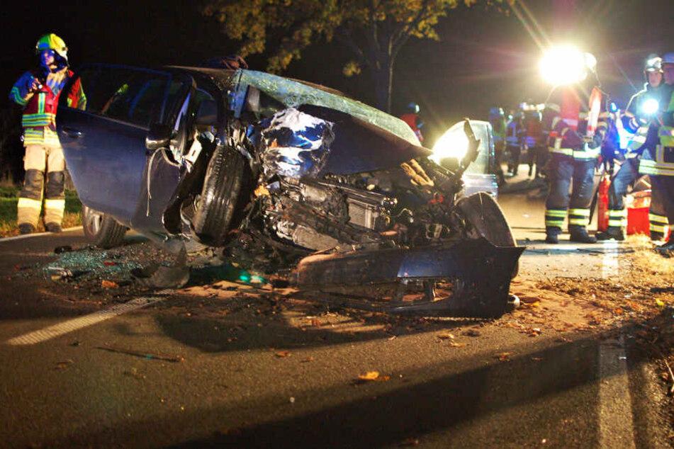 Südöstlich von Leipzig kollidierte am Sonntagabend ein VW Golf mit einem Baum. Der Fahrer kam schwer verletzt davon, sein Hund starb.