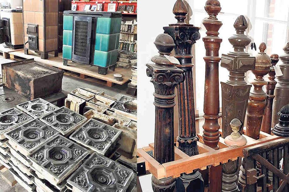 Aus Gründerzeithäusern geborgen: Kacheln und ganze Kachelöfen. Im Bergelager zum Verkauf: Treppengeländer-Säulen  aus Gründerzeithäusern.