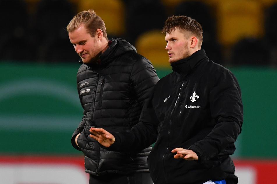 Lars Lukas Mai (rechts) und Sebastian Mai bei der Auswertung des DFB-Pokalspiels zwischen Dresden und Darmstadt im Winter 2020.