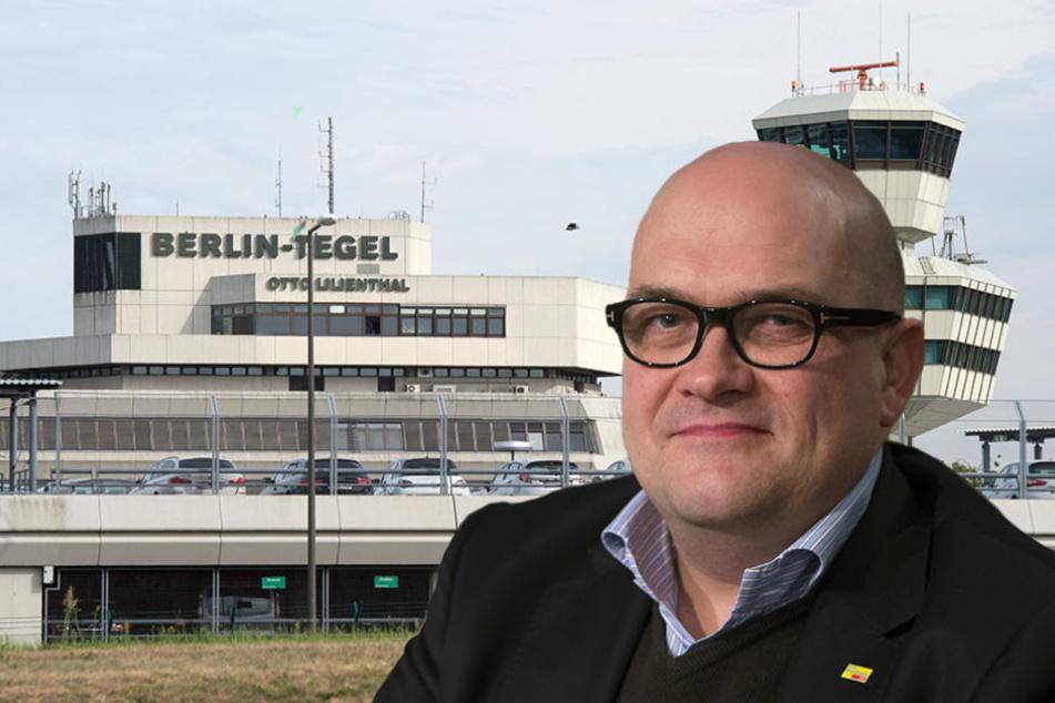 Vereinschef Lars Lindemann (46, FDP) will auch in Brandenburg einen Volksentscheid zum Flughafen Tegel. (Bildmontage)