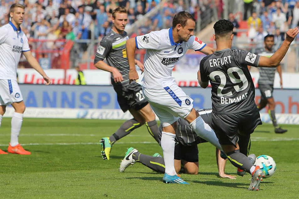 Nicht gerade ideal lief das Gastspiel bei Karlsruher SC.