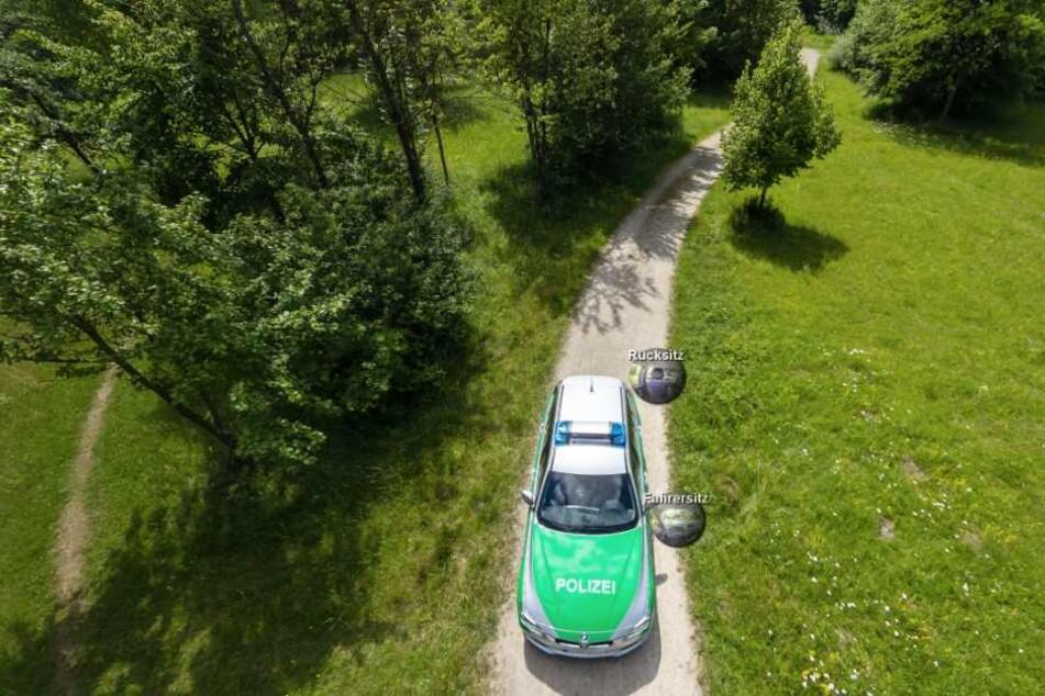 Der Anblick des Streifenwagens von oben.