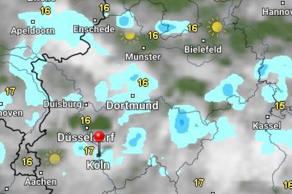 Das sind die Temperaturen in NRW am Montagmittag laut Wetter Online.