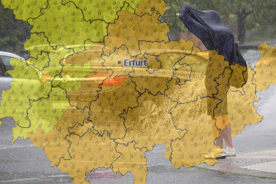 Heftige Niederschläge drohen vor allem Ost- und Mittelthüringen.