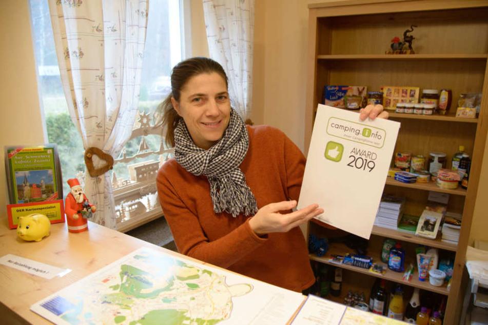 Franziska Polusik (46) freut sich über den Camping-Award. Ihr Campingplatz gehört zu den beliebtesten Europas.