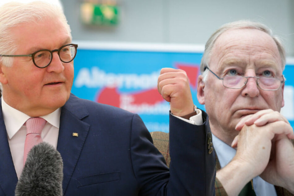 Bundespräsident Steinmeier (62, li.) schämt sich für Aussagen wie die von AfD-Chef Gauland (77). (Bildmontage)