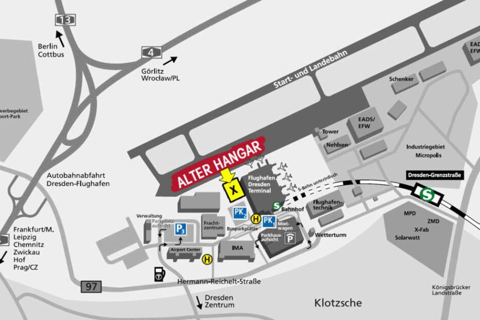 Hier befindet sich der alte Hangar, direkt am Dresdner Airport.