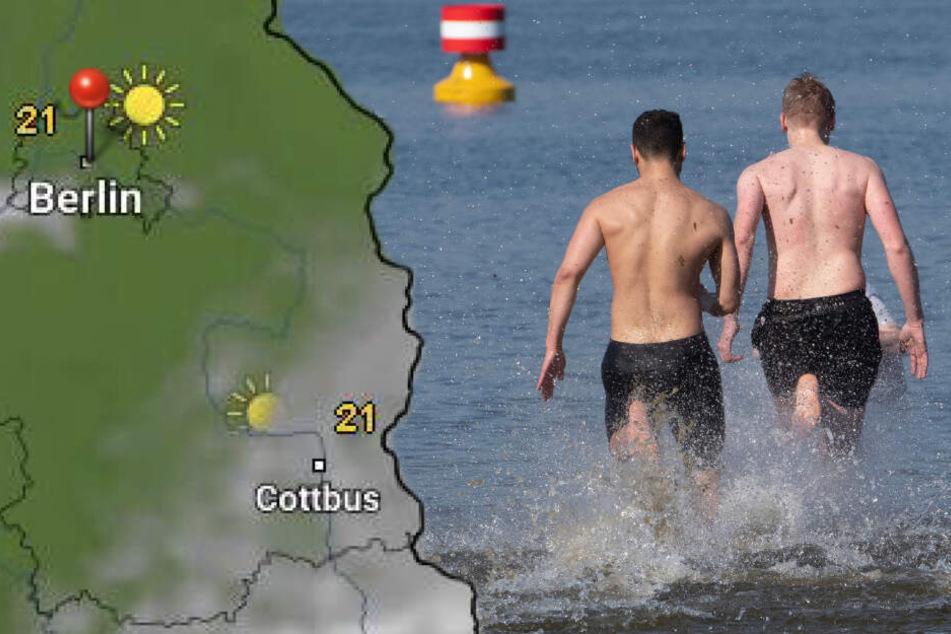 Letzte Freibad-Chance? In Berlin sollen es am Mittwoch bis zu 24 Grad werden. (Bildmontage)