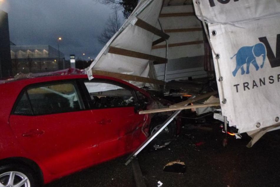 Glück im Unglück hatte wohl diese Toyota-Fahrerin.