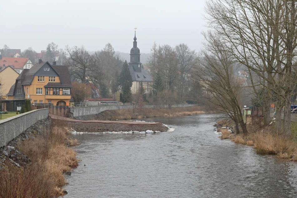 Da geht noch was: Aktueller Wasserstand in Flöha, wo die Flöha und die Zschopau zusammenfließen.