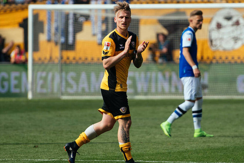 Einen versöhnlichen Abschied hatte Marvin Stefaniak beim letzten Spiel im Dynamo-Dress gegen Arminia Bielefeld.
