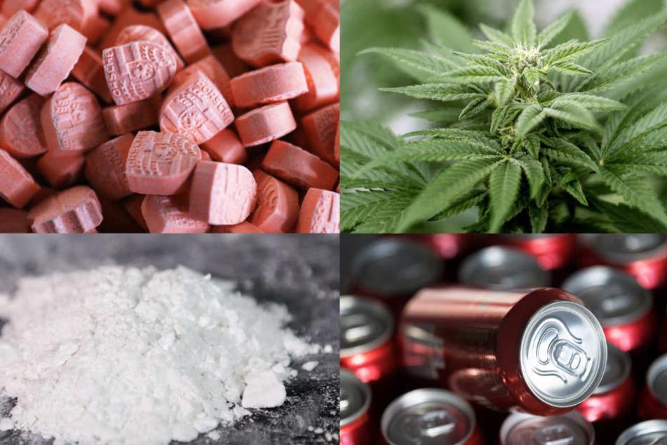 Immer mehr Menschen konsumieren einen gefährlichen Drogenmix: Ecstasy (oben links), Cannabispflanzen (rechts), Kokain (unten links) und Bierdosen (rechts).