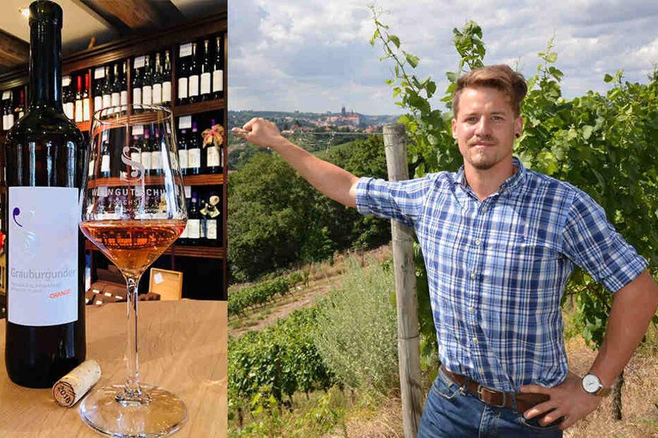 """Rückbesinnung auf alte Traditionen: Matthias Schuh (30) ist Winzer aus Leidenschaft und hat so genannte Orange Wines für sich entdeckt. Neben Weiß- und Rotweinen und dem """"Rosa Schuh"""" hat das Weingut jetzt einen Grauburgunder Spätlese Orange im Sortiment."""