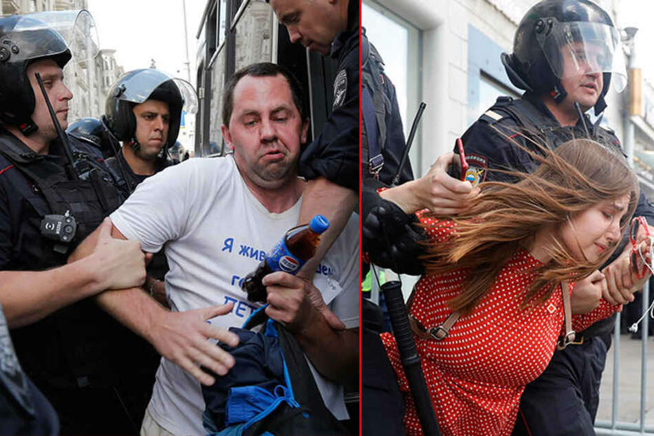 Eskalation in Moskau: Hunderte Festnahmen, Menschen in Polizeibusse gezerrt