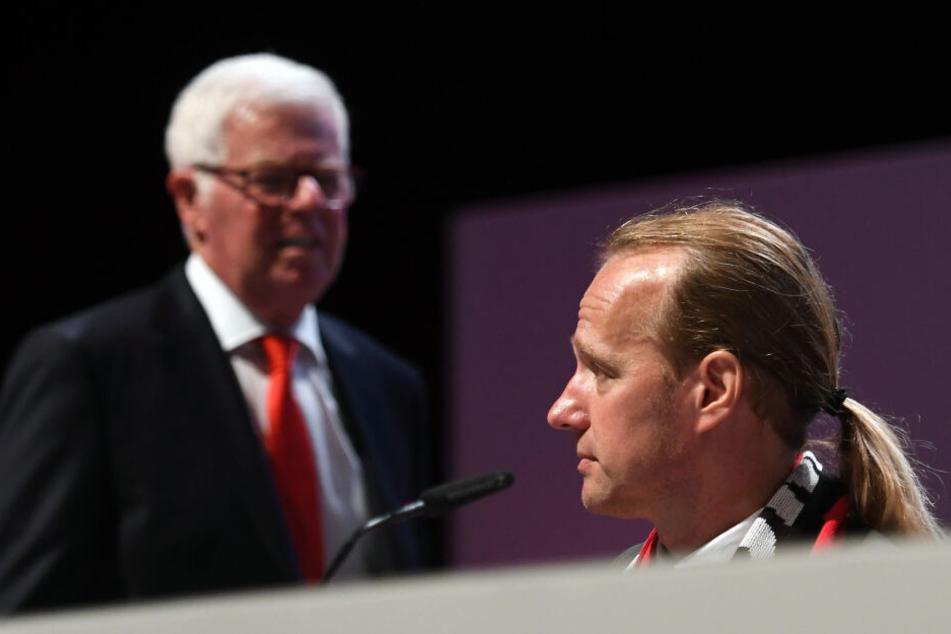 Stefan Müller-Römer (r.) wird Nachfolger von Ex-Präsident Werner Spinner im Vorstand des 1. FC Köln (Bild von der JHV 2018).