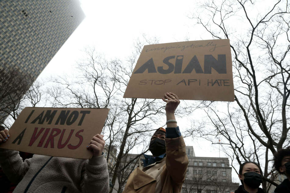 Protestors attend the American Asian Federation Anti-Asian Hate Rally in lower Manhattan.