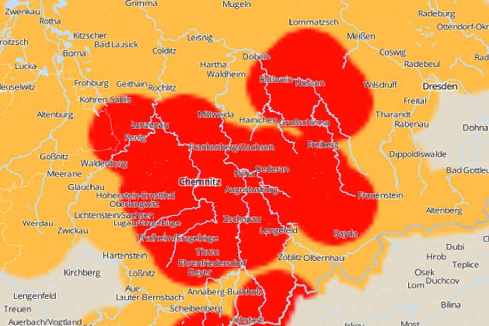 Für Teile von Sachsen gilt eine Unwetterwarnung.