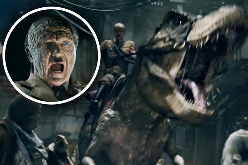 Regisseur Vuorensola legt nochmal eine Schippe drauf und lässt Hitler einen T-Rex reiten.
