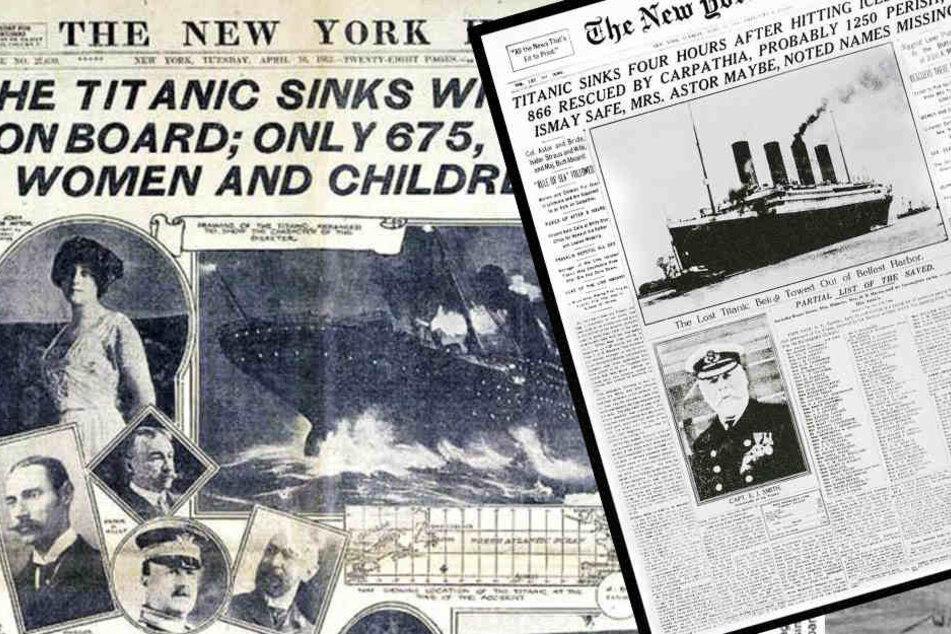 Artikel in New Yorker Zeitschriften berichten 1912 von der verheerenden Schiffskatastrophe.