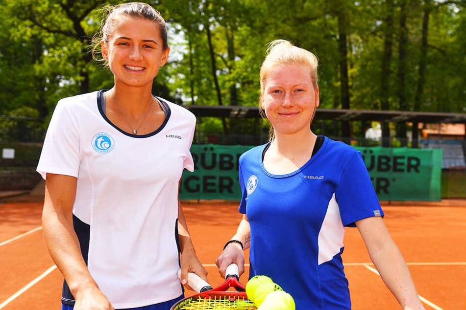 Dresdens Tennis-Spielerinnen Varvara Flink (l.) und Lara Schmidt.