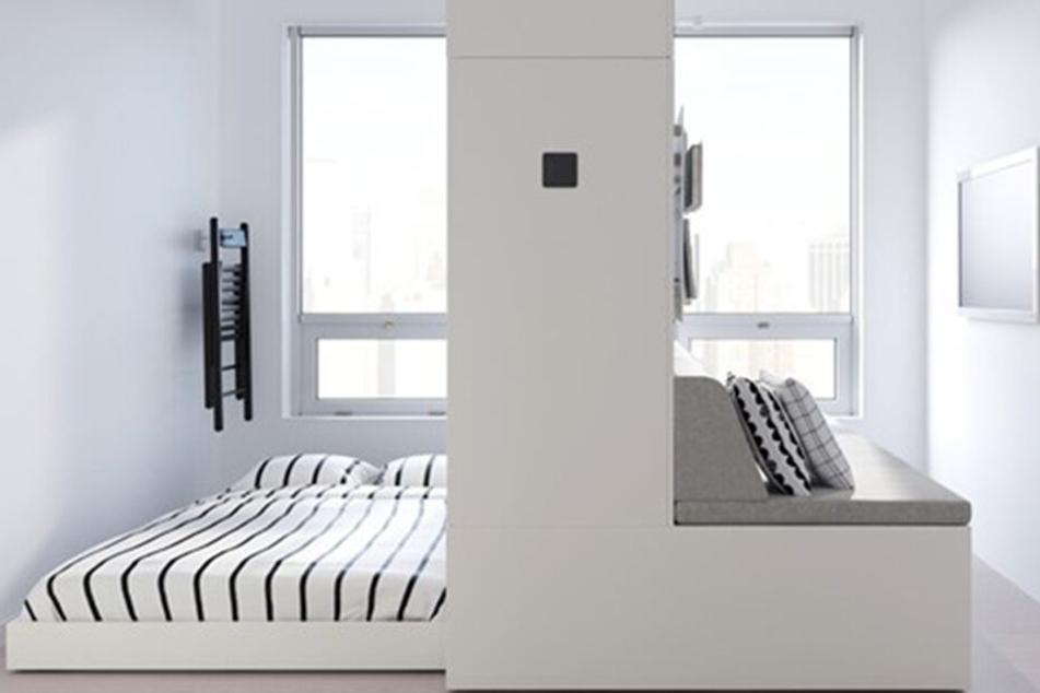 ...verwandelt sich der Wohnbereich auf Knopfdruck in einen Wohn-und Schlafbereich.