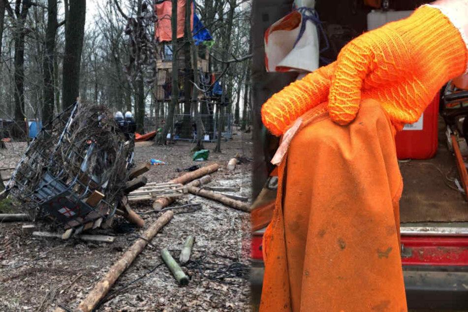 Die Bilder der Polizei Aachen vom Montagvormittag stammen aus dem Hambacher Forst.