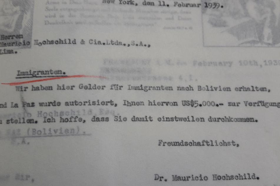 Ein von Hochschild unterschriebener Brief zur Rettung von Juden vor den Nazis.