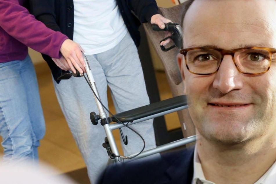 Bundesgesundheitsminister Jens Spahn (38, CDU) spricht plötzlich von einer Erhöhung der Pflegebeiträge von 0,5 Prozent. (Bildmontage)