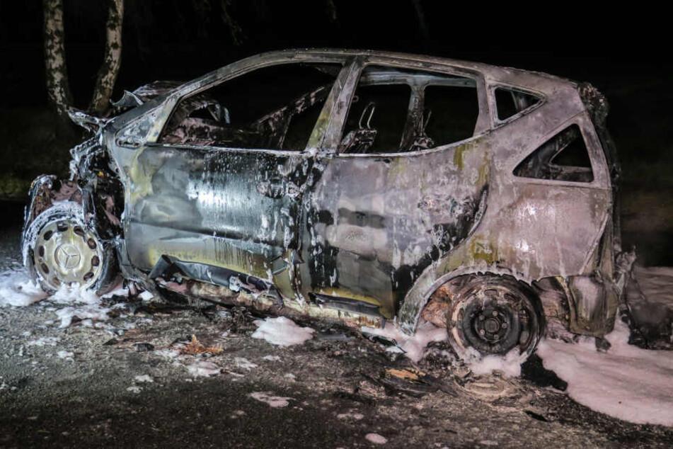 Die beiden Insassen konnten sich noch rechtzeitig aus dem Auto retten.