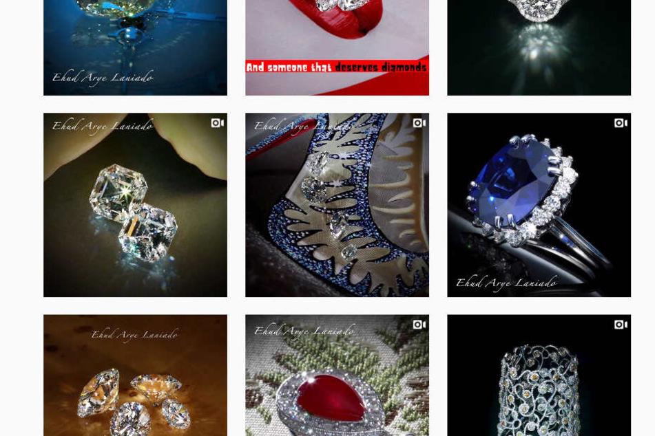 Ausschnitt aus seinem Instagram-Profil: Überall funkeln Diamanten...