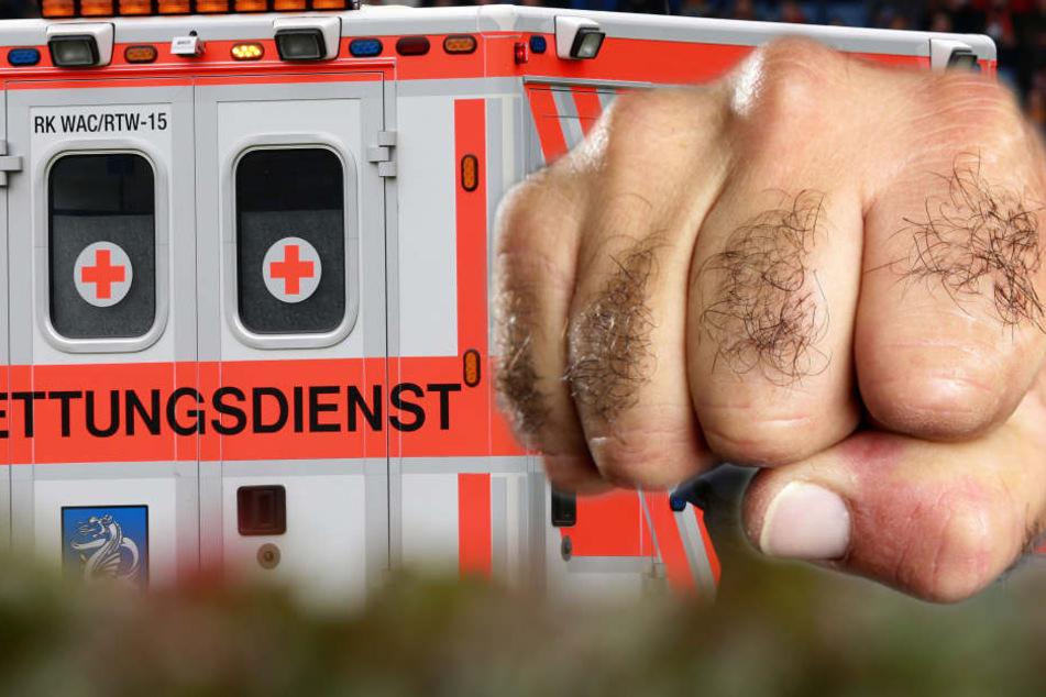 Der junge Mann wurde grundlos geschlagen und getreten. (Fotomontage/Symbolbild)