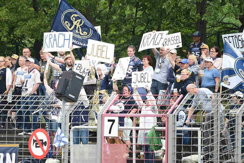 Die Dresdner-Fans mit einer witzigen Verbal-Choreografie.