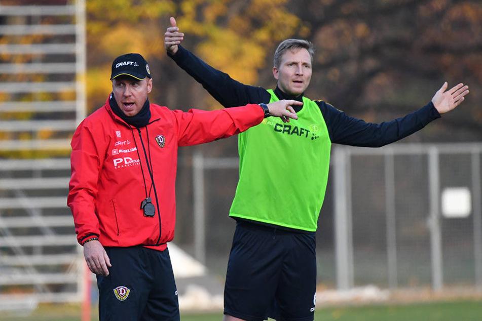 Durch Marco Hartmanns (r.) anhaltende Verletzungsprobleme musste Dynamo-Trainer Maik Walpurgis (l.) seine Abwehr mehrfach umstellen.
