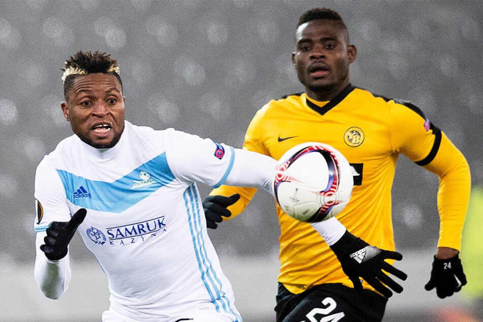 Kasim Nuhu (r.) von den Young Boys Bern hier im Duell mit Junior Kabananga (l.) vom FC Astana beim Europa-League-Gruppenspiel in Kasachstan.
