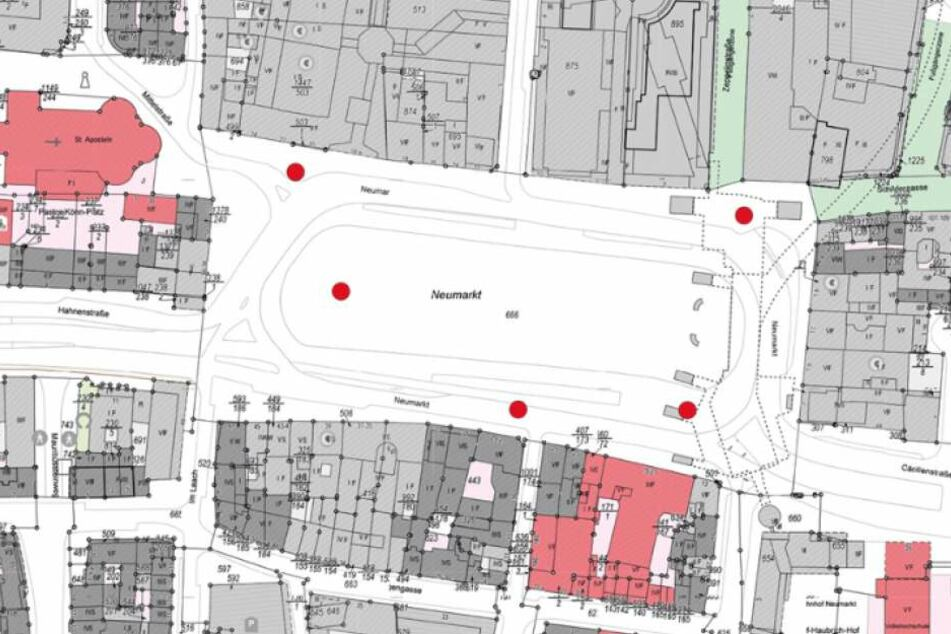Die roten Punkte zeigen die geplanten Standorte für die Kamera-Überwachung am Kölner Neumarkt.