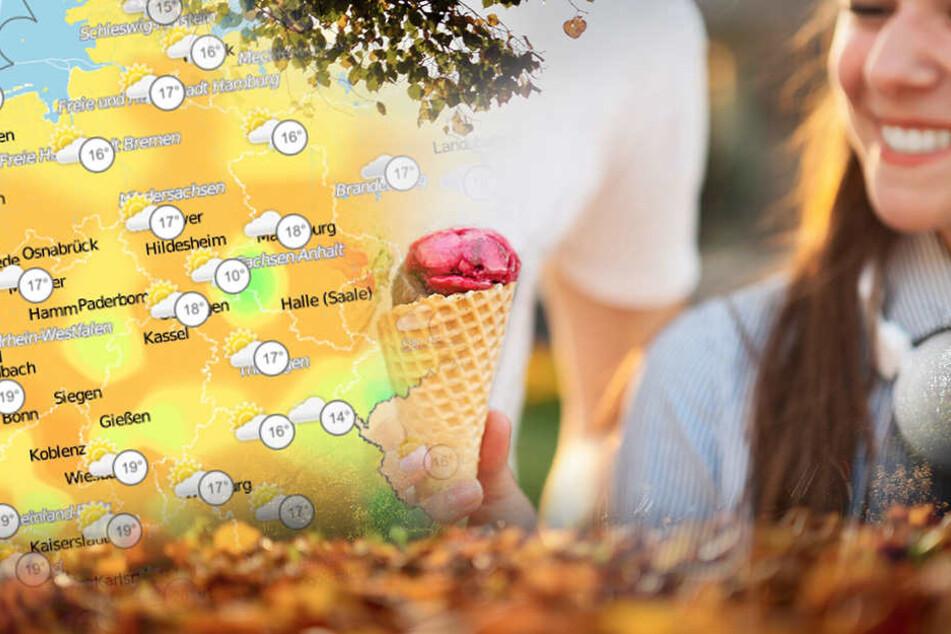 Eis Essen Ende Oktober? Ja, bei 20 Grad, kann man sich noch einmal 'ne Kugel gönnen.