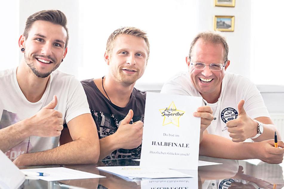 Die Jury beim zweiten Vorausscheid am Sonntag: Christopher Kühn (27), Billy  Unger (28) und Raik Bartnik (48).