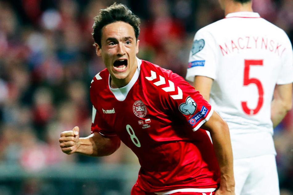 Thomas Delaney jubelt über ein Tor für die dänische Nationalmannschaft.