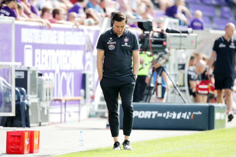 Aues Trainer Daniel Meyer war einmal mehr nicht so glücklich mit einigen Phasen des letzten Testspiels.