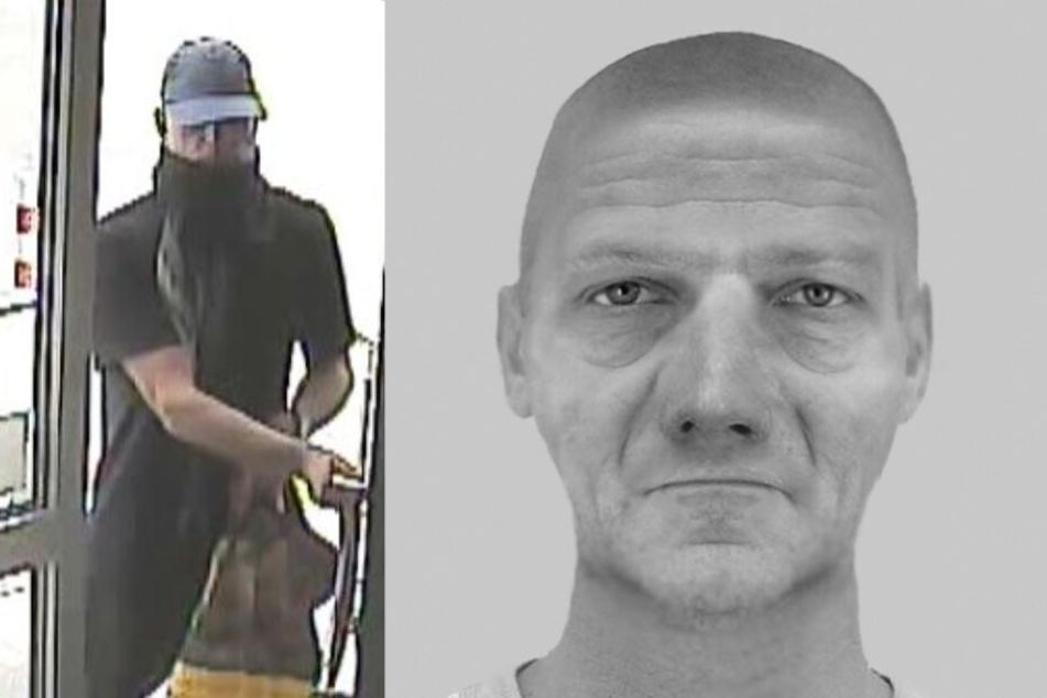 Der gesuchte Mann auf einem Bild der Überwachungskamera und auf einem Phantombild.