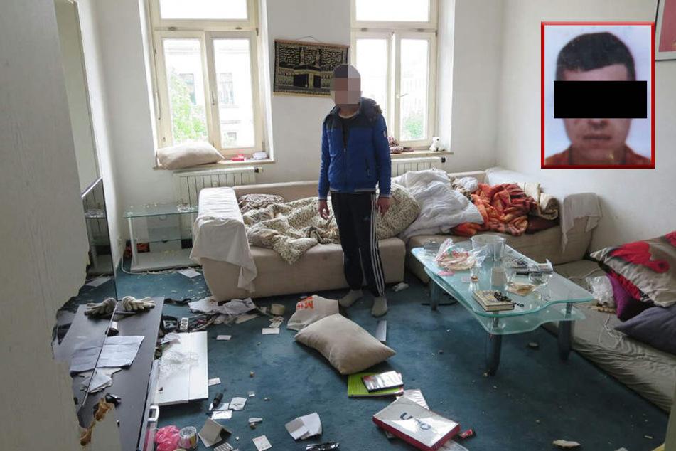 Diese Wohnung hatte das SEK gestürmt. Der 22-jährige Bruder (kleines Foto) des jungen Syrers auf dem Bild wurde vorläufig festgenommen.