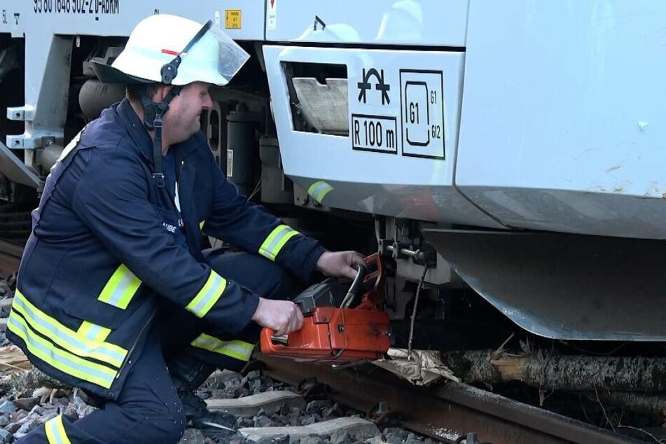 Die Feuerwehr Bülstringen musste den unter dem Zug verkeilten Baum mit Kettensägen zerkleinern.