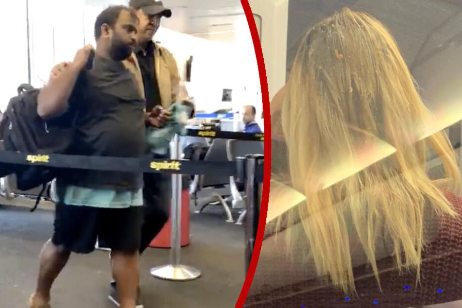 Betrunkener Passagier kotzt blonder Frau auf den Kopf