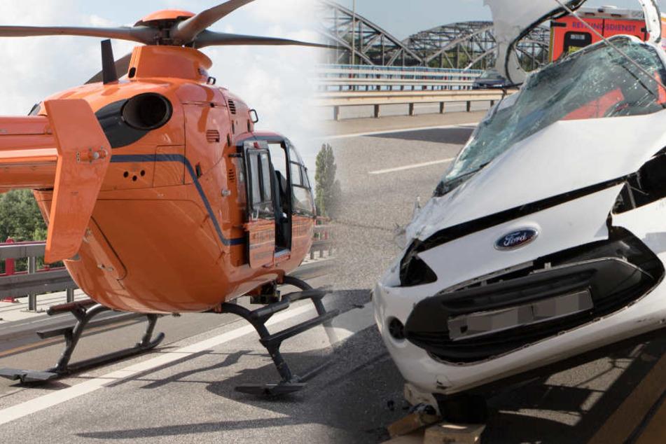 Dramatischer Unfall auf Brücke: Auto verkantet sich vorm Abgrund