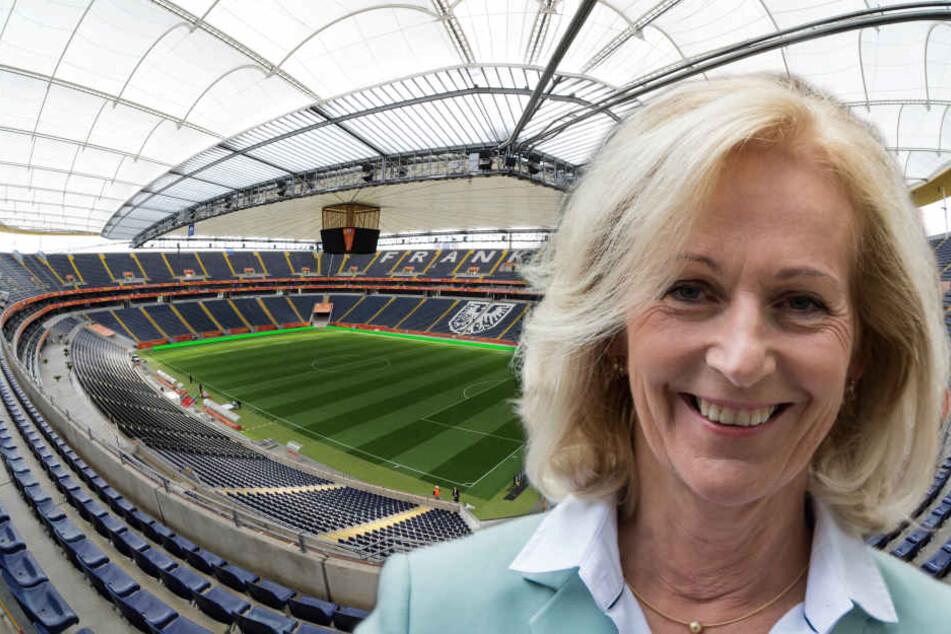 Bernadette Weyland will die Commerzbank Arena an den Bundesliga-Klub Eintracht Frankfurt verkaufen. (Fotomontage)