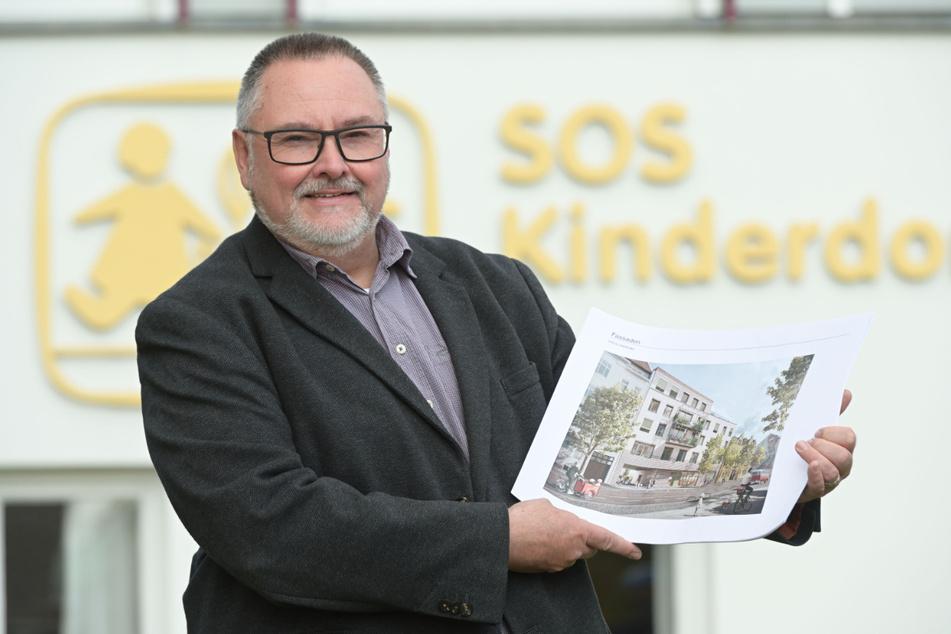 So soll die neue Einrichtung aussehen: Heico Michael Engelhardt (51), Leiter des SOS-Kinderdorfs in Zwickau, zeigt eine Visualisierung.
