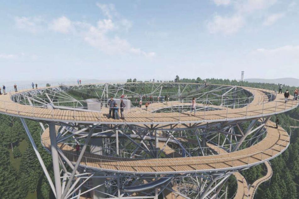 Der ursprünglich 75 Meter hoch geplante Turm ist inzwischen auf 50,7 Meter geschrumpft.