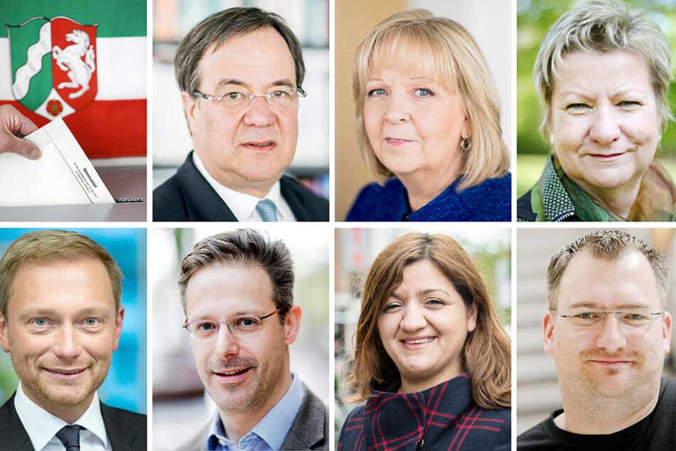 Die NRW-Spitzenkandidaten (oben, li-re.): Armin Laschet (CDU), Hannelore Kraft (SPD), Sylvia Löhrmann (Grüne) und (unten, li.-re): Christian Lindner (FDP), Marcus Pretzell (AfD), Özlem Alev Demirel (Linke) und Michele Marsching (Piraten).